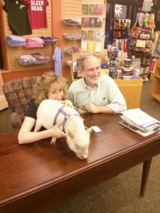 Tazzy, Sy and Michael Herrmann, the owner of Gibson's Bookstore.