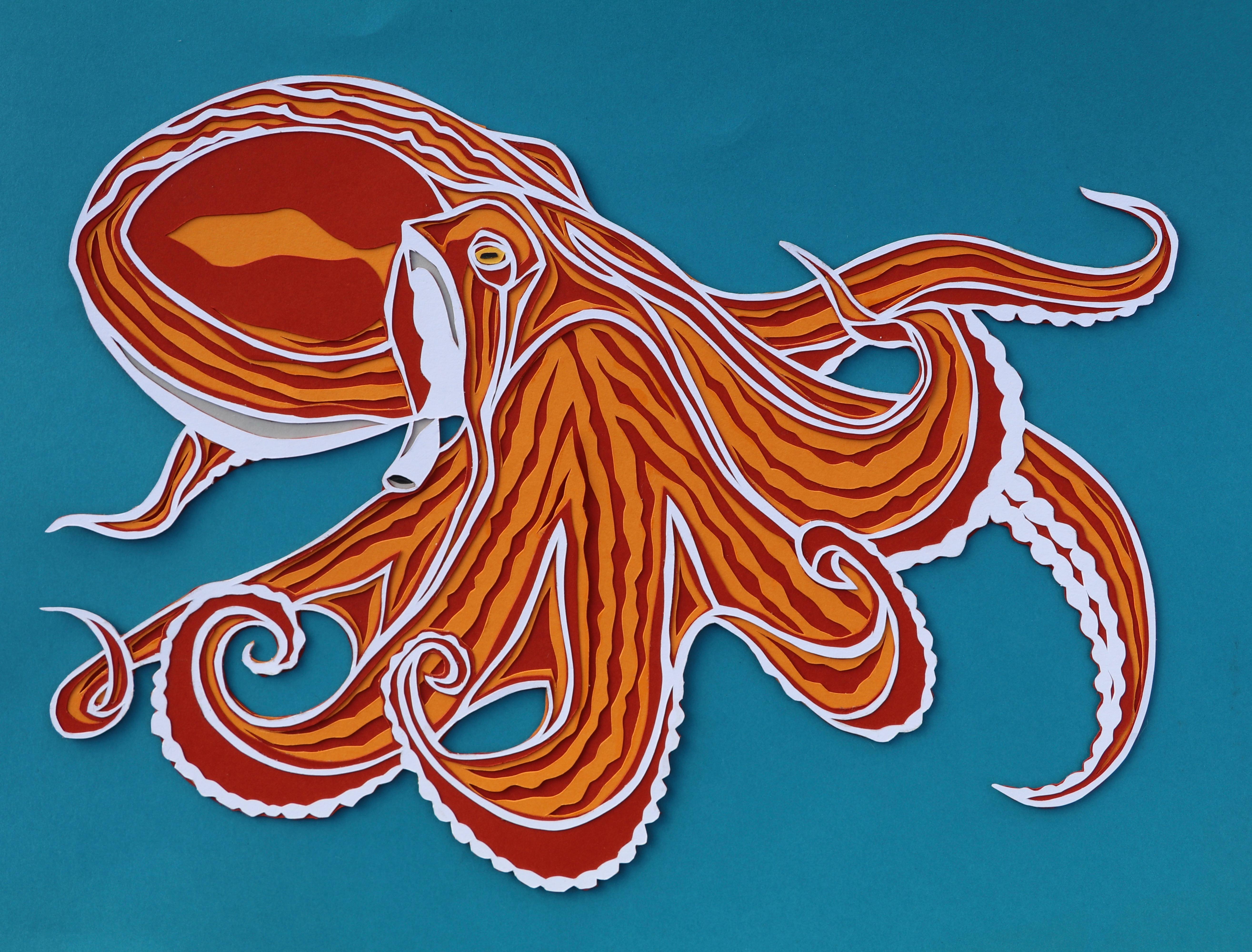 Octopus paper cut