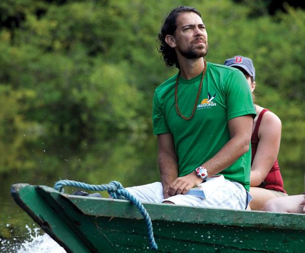 man in skiff on amazon