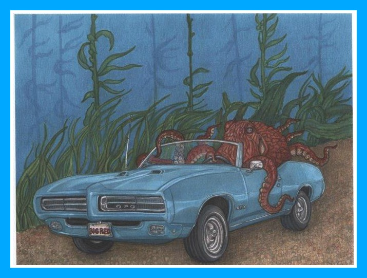 This drawing was a present from the Fishes Staff at The Virginia Aquarium and Marine Science Center. The Senior Aquarist, the charming Evan Culbertson, introduced Sy at the evening All Henrico Reads program. (You old Muscle Car enthusiasts will note that the Octo is at the wheel of a GPO, which is strikingly like a 1969 Pontiac GTO.)
