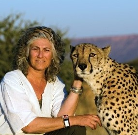 Laurie Marker with a cheetah