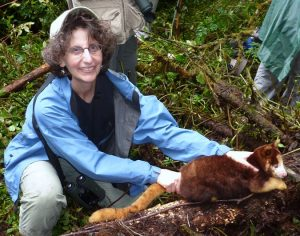Lisa Dabek with a tree kangaroo